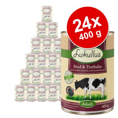 Lukullus-säästöpakkaus 24 x 400 g – mix: siipikarja, villikani, kalkkunansydän, kani