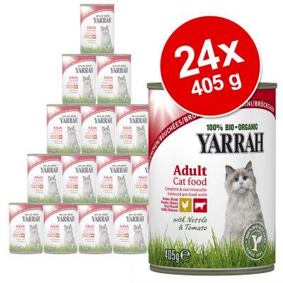 Ekonomipack: Yarrah Organic Chunks 24 x 405 g – Kyckling & nötkött med brännässlor & tomater