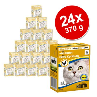 Ekonomipack: 24 x 370 g Bozita bitar i gelé eller sås – Blandpack: Extra kyckling i gelé + Älg i gelé