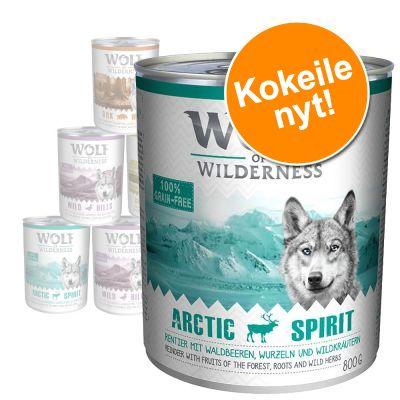 Wolf of Wilderness -lajitelma 6 x 400/800 g, monta makua - 12 x 800 g
