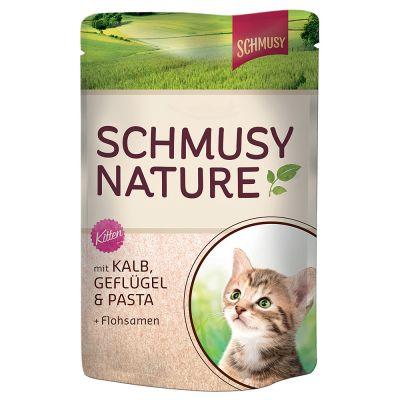 Schmusy Nature Kitten -pussiruoka: vasikanliha, siipikarja, pasta & psylliuminsiemen - 24 x 100 g