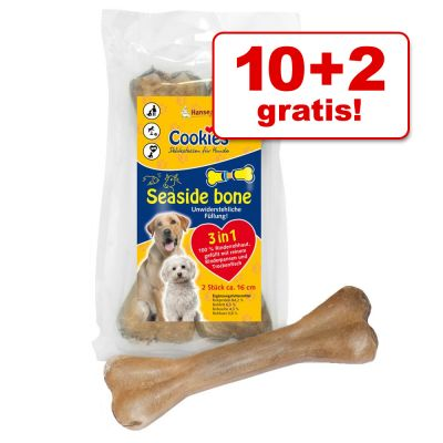Cookies  - 10 + 2 gratis! 12 Cookie´s Hondensnacks Seaside Bone - 12 x 16 cm