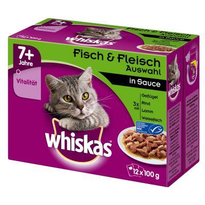 Whiskas 7+ Senior Pouches 12 x 100 g - 7+ siipikarjavalikoima kastikkeessa