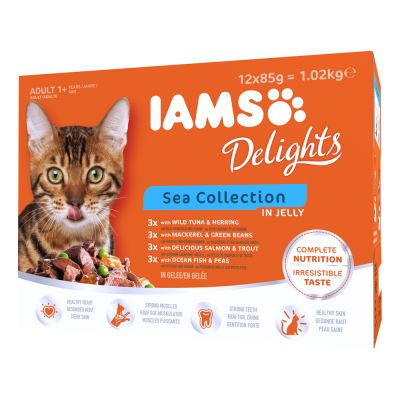 IAMS Delights Adult in Jelly - 24 x 85 g Sea Mix in Jelly