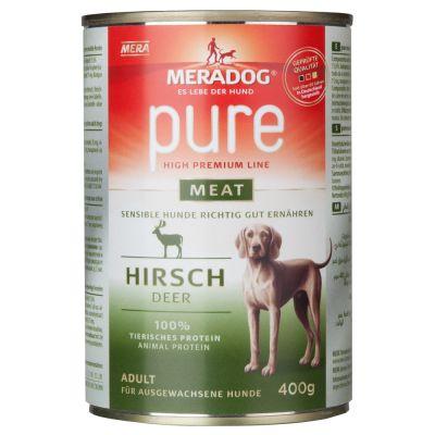 Meradog pure meat -säästöpakkaus 12 x 400 g - sekoitus (peura, lammas, puhveli)
