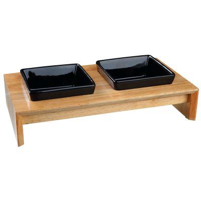 Trixie-ruokakuppisetti, keramiikka/puu - 2 × 400 ml, P 36 × L 19 × K 7 cm