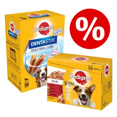 96 x 100 g Pedigree Pouch -mix + 28 kpl Dentastix Medium erikoishintaan! - Adult in Jelly