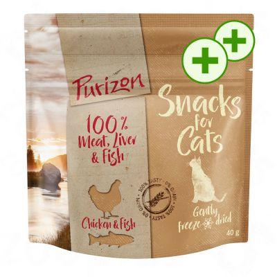 2x zooPisteitä: Purizon Snack -säästöpakkaus 3 x 40 g - kala & nauta