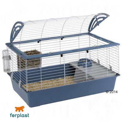 Ferplast Casita 100 smådjursbur – Blå: L 96 x B 57 x H 56 cm