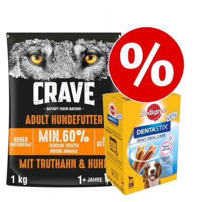 1 kg Crave -kuivaruoka + Dentastix (M) erikoishintaan! - Adult Dog Turkey & Chicken + 28 x Pedigree Dentastix (M)