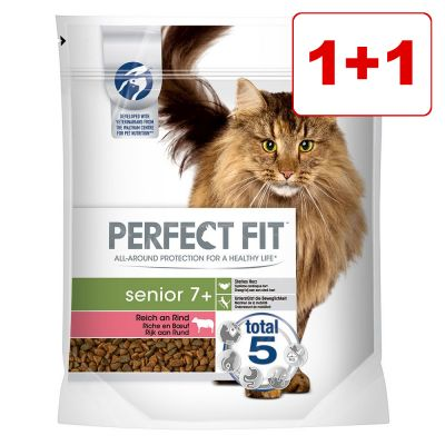 1 + 1 kaupan päälle! 2 x 750 g Perfect Fit kissanruoka - Senior 7+ Rich in Beef