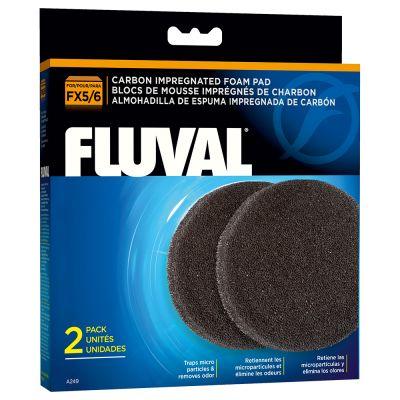 Fluval FX vaahtomuovisieni aktiivihiilellä - 2 kpl setti: FX 5/6