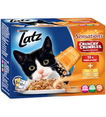 Latz (Pussi) Sensations Crunchy 20 x 100 g + 80 g topping - Grönsaksmix