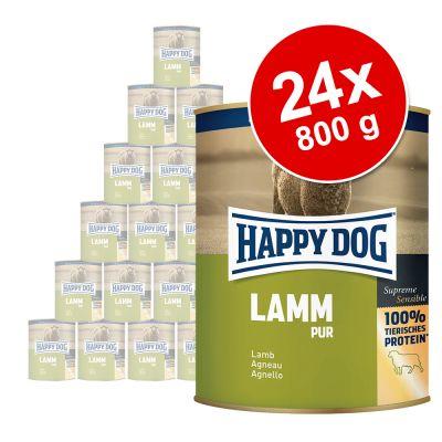 Happy Dog Pur -säästöpakkaus 24 x 800 g - mix, 2 makua: naudanliha ja lammas