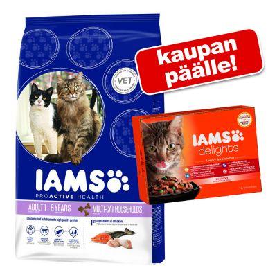 Iams kissanruoka 10 kg + IAMS Delights -märkäruoka 12 x 85g kaupan päälle! - IAMS Pro Active Health Adult Weight Control (10 kg)