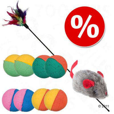 Kissan lelupaketti: pehmopallot + kissanminttuhiiri + höyhenkeppi - 8 palloa + lelukeppi + kissanminttuhiiri