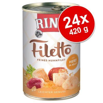 Rinti Filetto -säästöpakkaus 24 x 420 g - kana & nauta hyytelössä