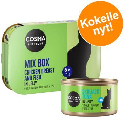 Cosma Original -valikoima hyytelössä - 6 x 400 g, Tyynenmeren tonnikala, boniitti, kananrinta, lohi