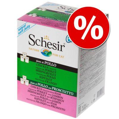 Schesir Jelly Pouch -säästölajitelma - 12 x kanafile, 12 x kana & kinkku