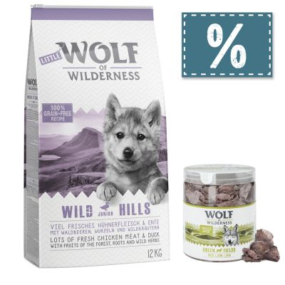 Wolf of Wilderness Junior 12 kg Trockenfutter + gefriergetrocknete Premiumsnacks