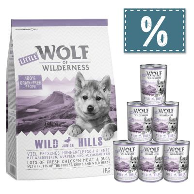 Wolf of Wilderness Junior 1 kg Trockenfutter + 6 x 400 g Nassfutter