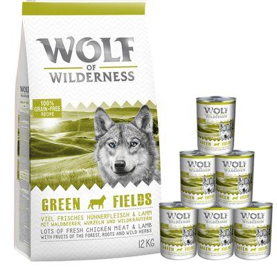Wolf of Wilderness 12 kg Trockenfutter + 6 x 400 g / 6 x 800 g Nassfutter