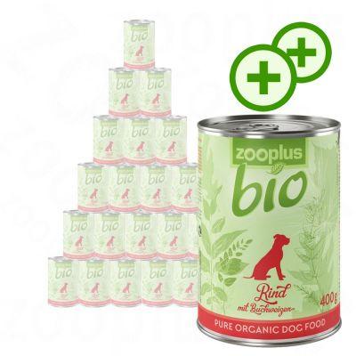 2x zooPlusPisteitä: zooplus Bio -säästöpakkaus 24 x 400 g - mix: nauta + kalkkuna