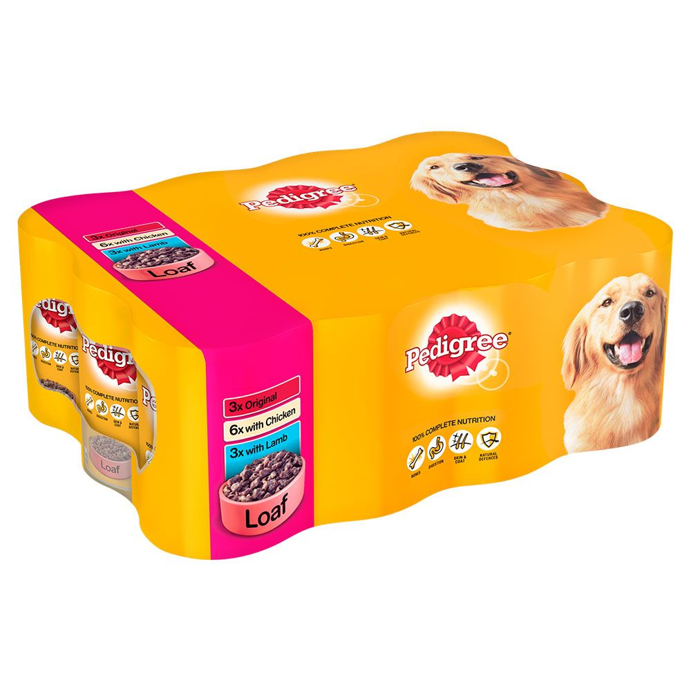 Pedigree Adult Selection Multipack 12 x 400g - Meat Selection in Loaf (Original, Chicken & Lamb)