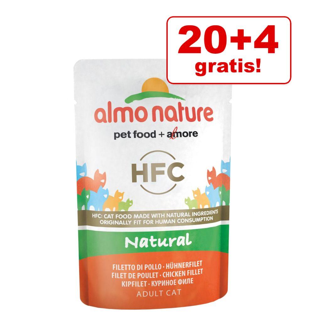 20 + 4 gratis! 24 x 55 g Almo Nature HFC Pouch - Natural: Hühnerfilet