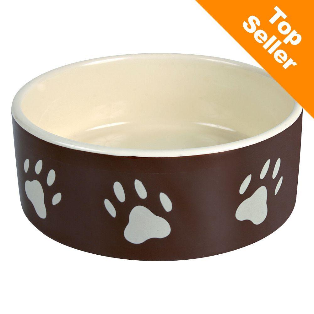 Trixie ceramiczna miseczka dla psa z motywem łapek, brązowa - 0,8 l/ Ø 16 cm