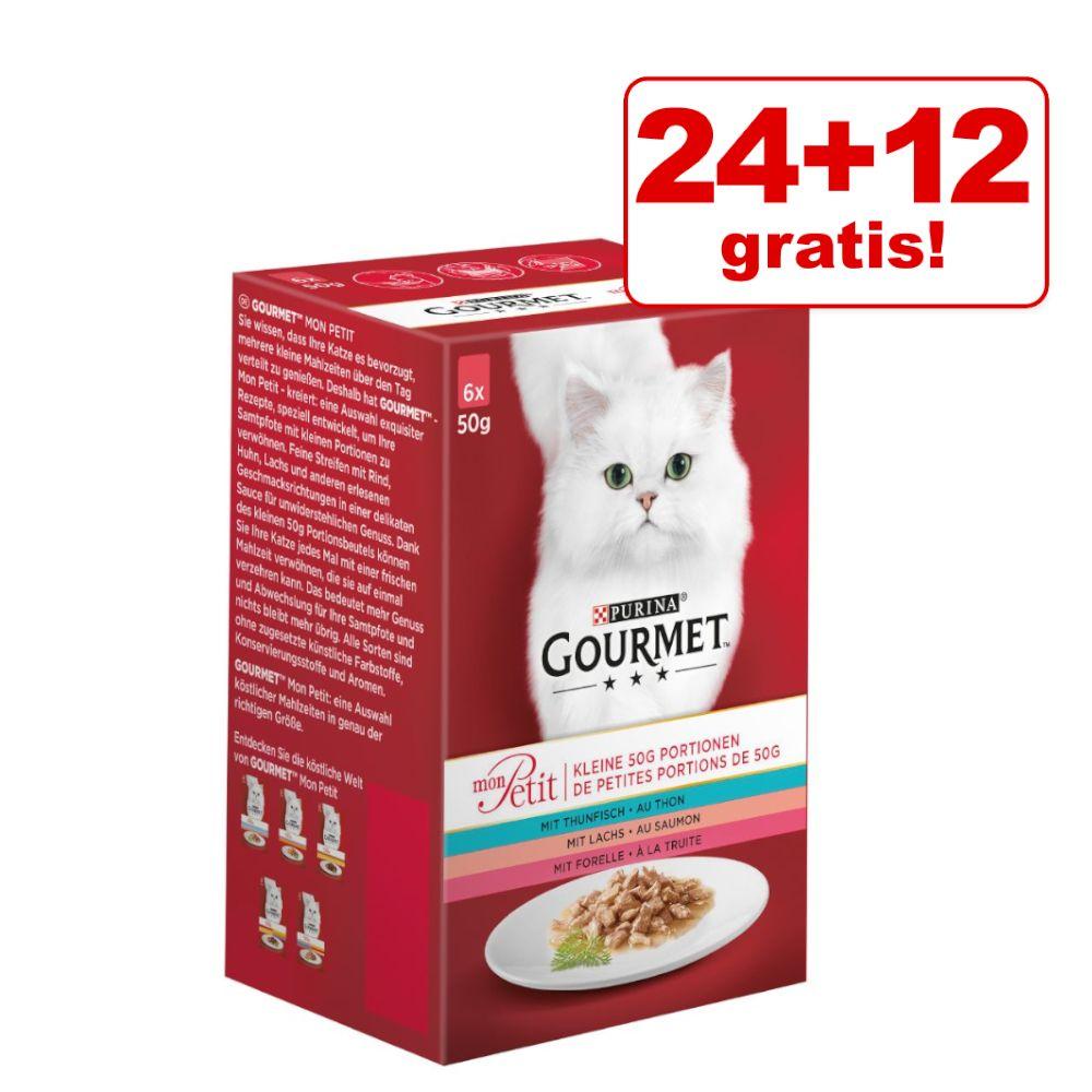 24 + 12 på köpet! 36 x 50 g Gourmet Mon Petit Mix - Duetti Fisk/Kött