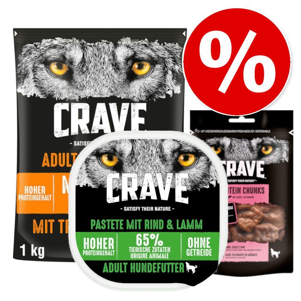 Sparpris! 1 kg Crave Adult torrfoder + 300 g Crave Paté + 55 g Crave Snacks - Turkey & Chicken + Paté Lamb & Beef + Protein Chunks Salmon