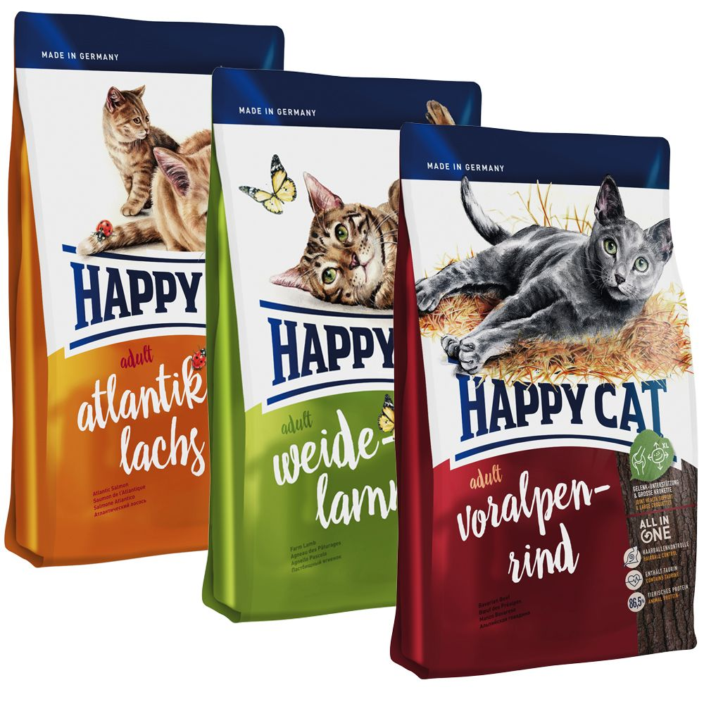 Happy Cat Adult Mix - 2 x 10 kg (Lachs, Rind)