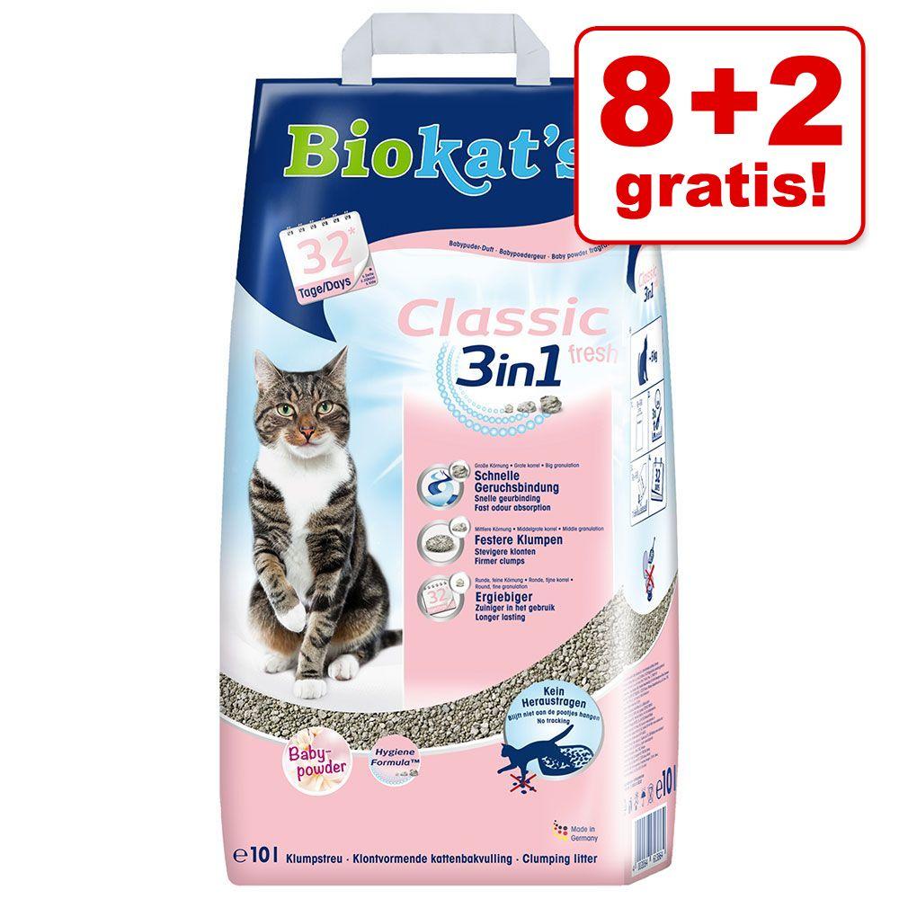 Image of 8 + 2 L gratis! 10 L Biokat's Classic - Fresh 3in1 - Fiori di cotone