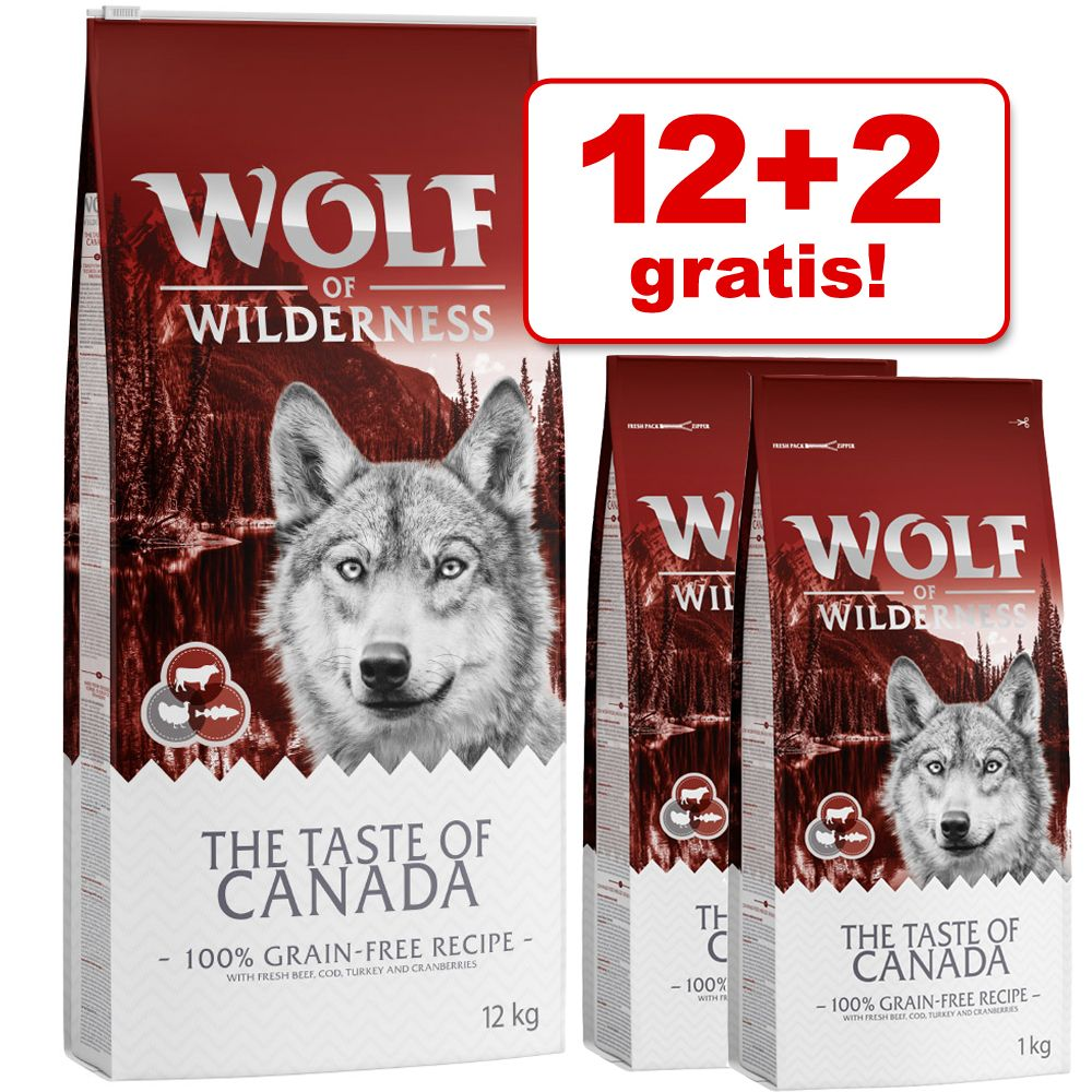 12 + 2 kg på köpet! 14 kg Födelsedagsutgåva Wolf of Wilderness torrfoder - Adult The Taste Of The Mediterranean