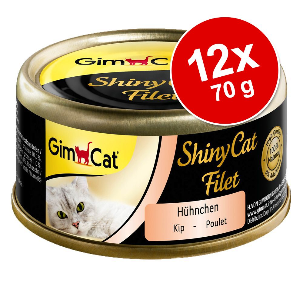 GimCat ShinyCat Filet 12 x 70 g - Kyckling