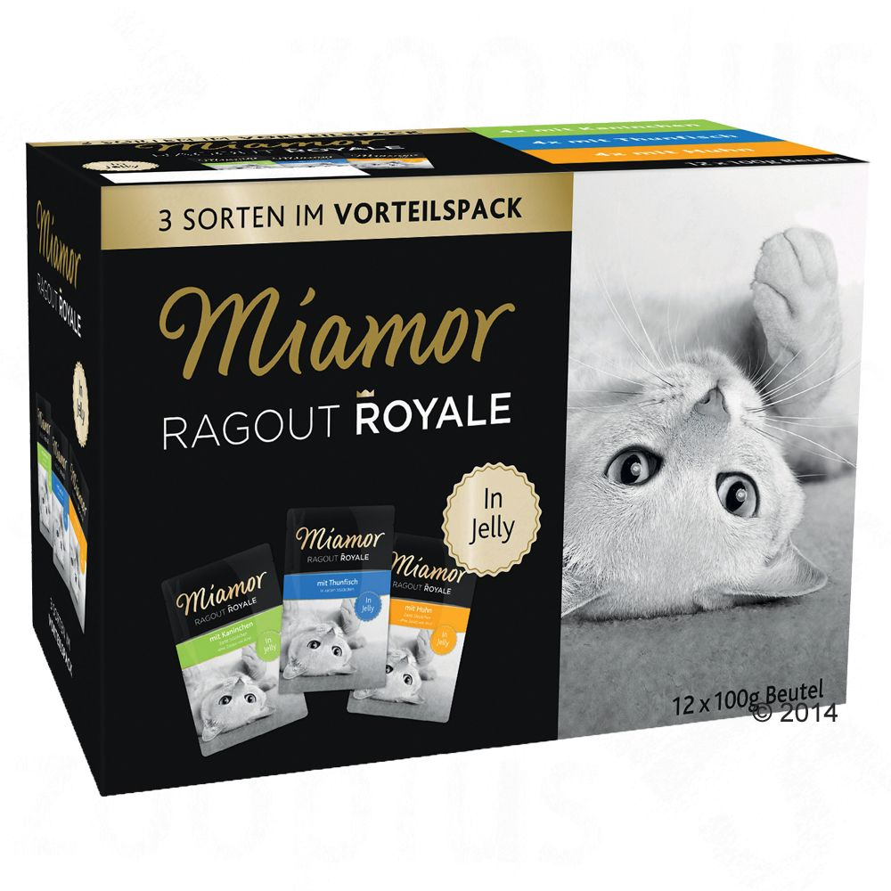 Blandpack: Miamor Ragout Royale 12 x 100 g - Multi-Mix Cream (Lax, kalv, anka & kyckling)