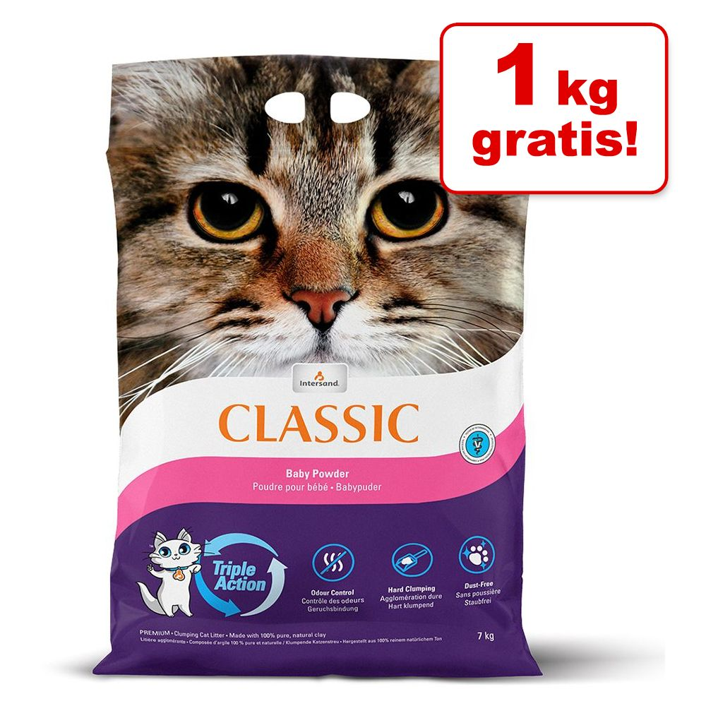 1 kg gratis! 7 kg Intersand Classic Katzenstreu - Parfümfrei