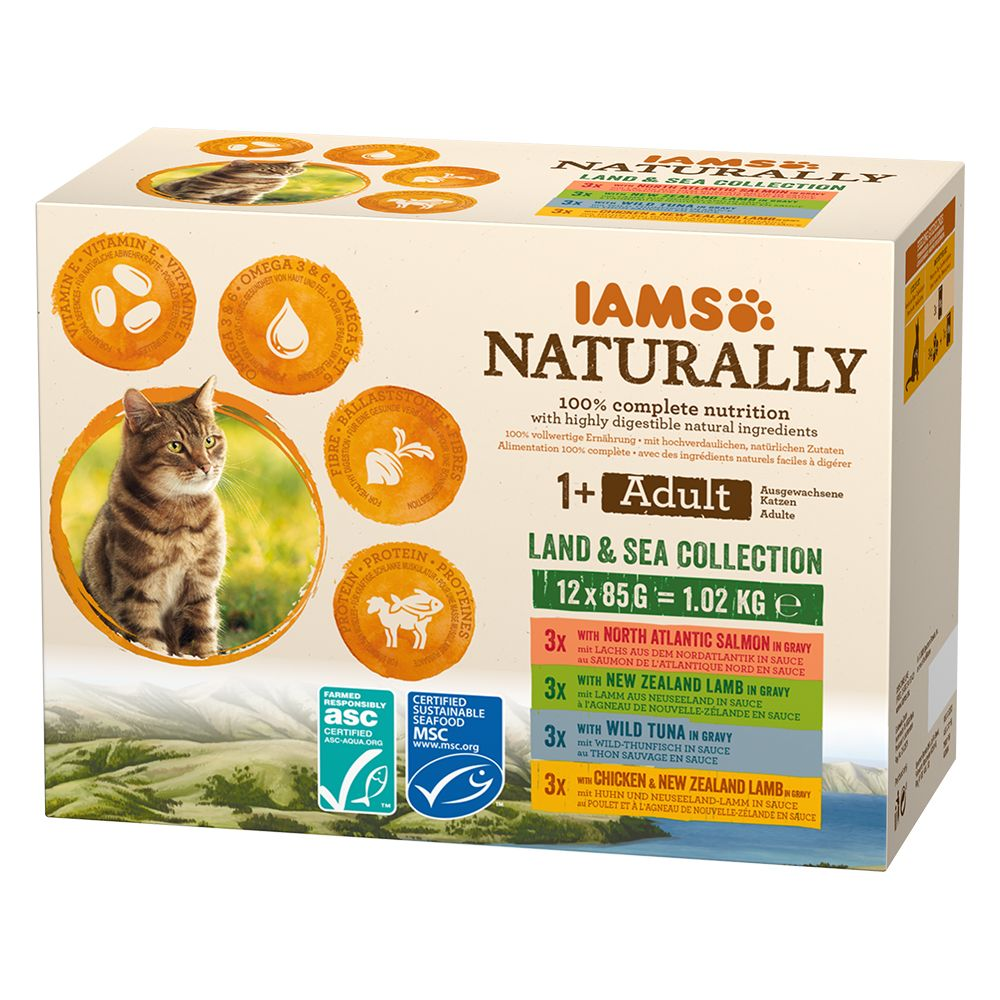 IAMS Naturally Adult Cat Land & Sea Collection - 12 x 85 g