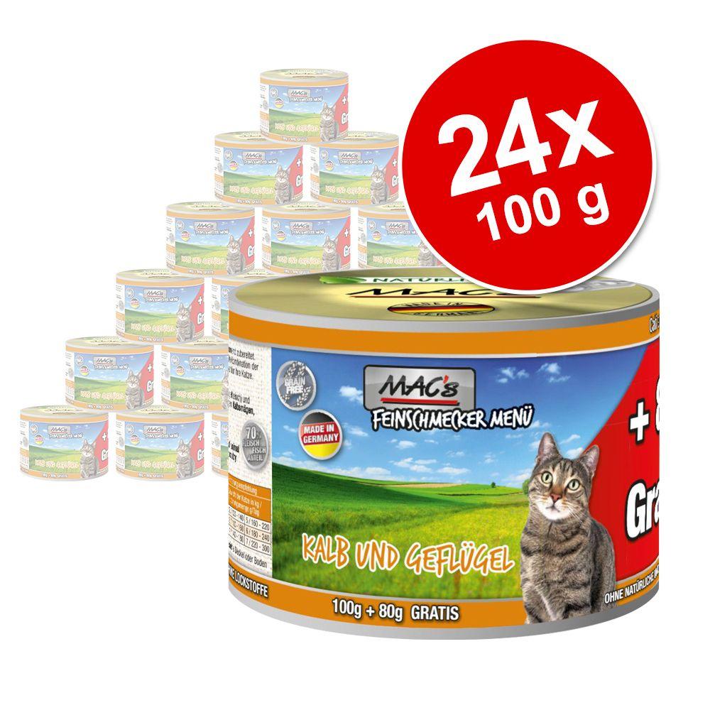 Ekonomipack: MAC's Cat Gourmet 24 x 180 g Kalv & fjäderfä