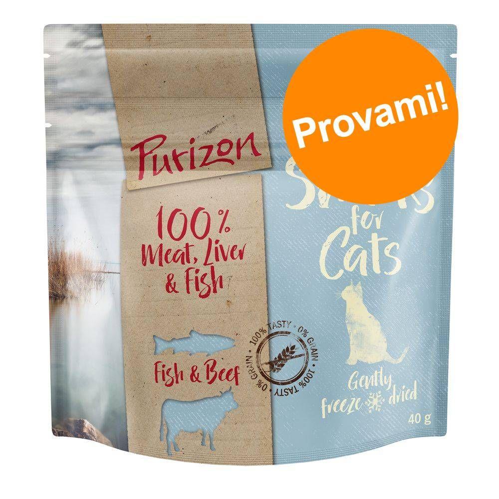 Image of Prezzo prova! 40 g Purizon Snack per gatti - senza cereali - Mix: Pollo, Agnello, Manzo e Pesce
