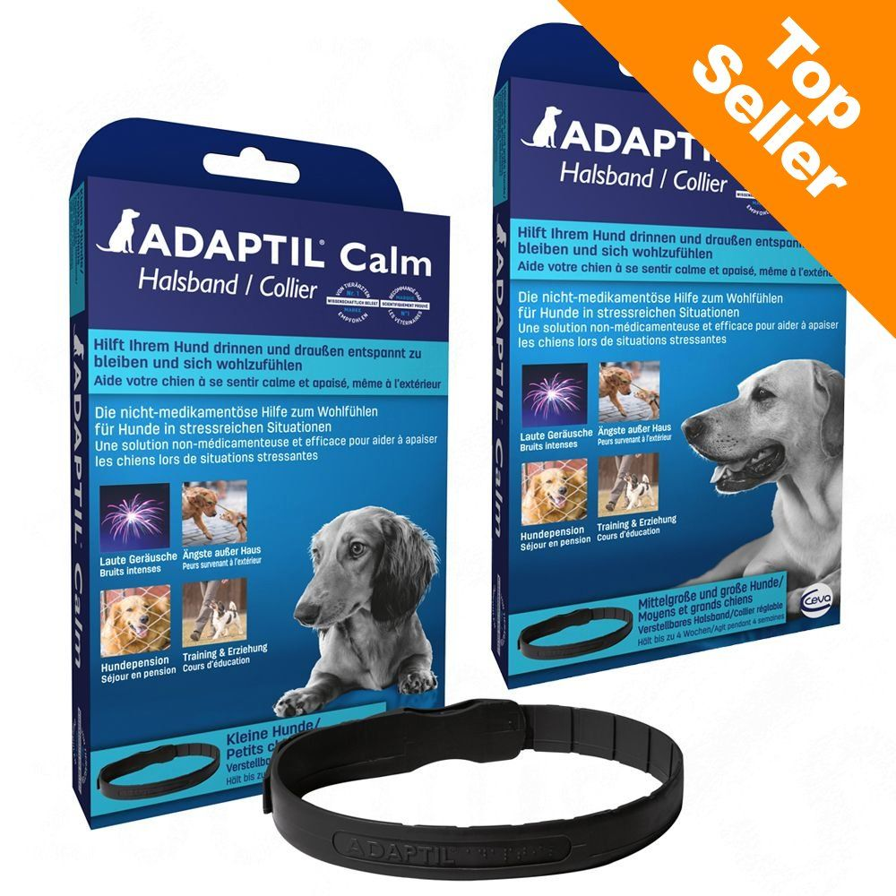 Collier apaisant ADAPTIL pour chien - 2 colliers S - M (chiot et petit chien, L 45 cm)