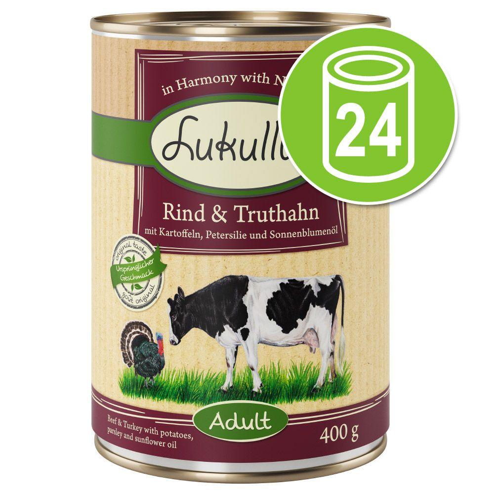 24x400g cœurs de dinde, oie Lukullus - Nourriture pour chien