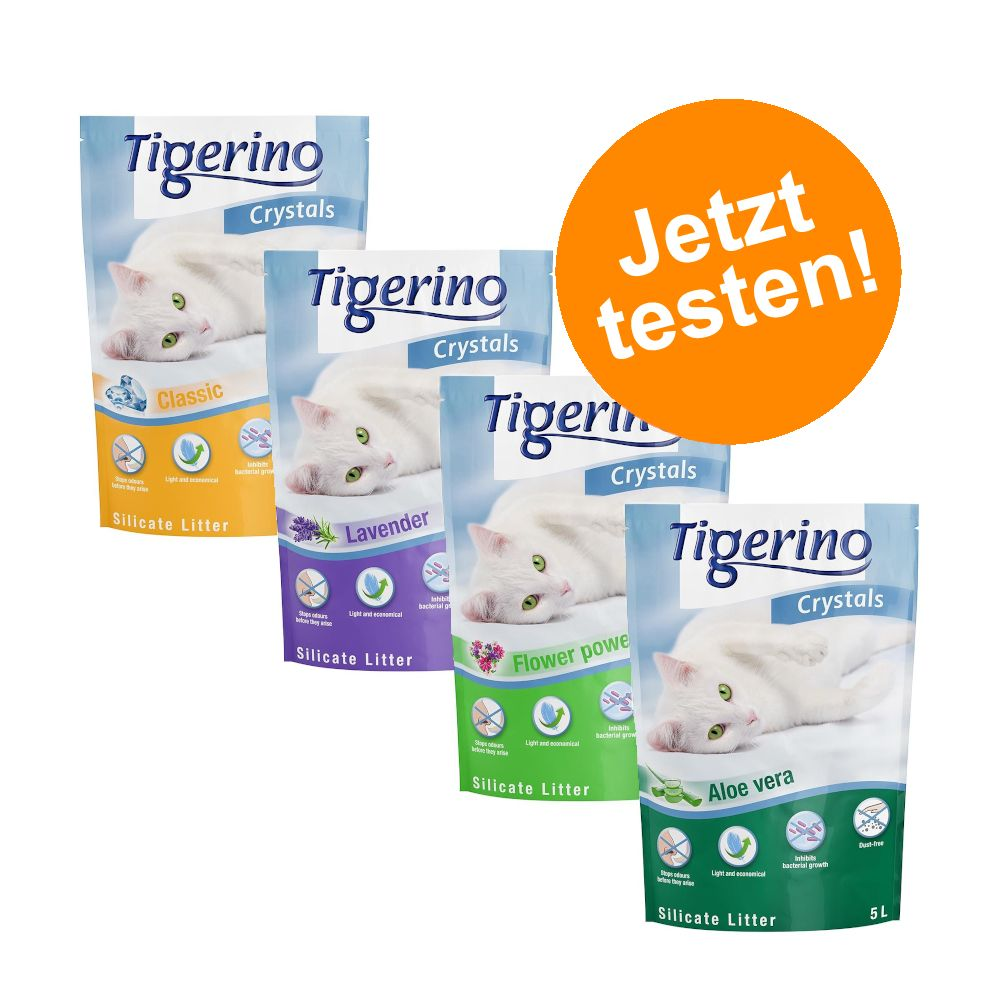 Tigerino Crystals Katzenstreu gemischtes Probierpaket 6 x 5 l - 4 verschiedene Sorten - (Classic