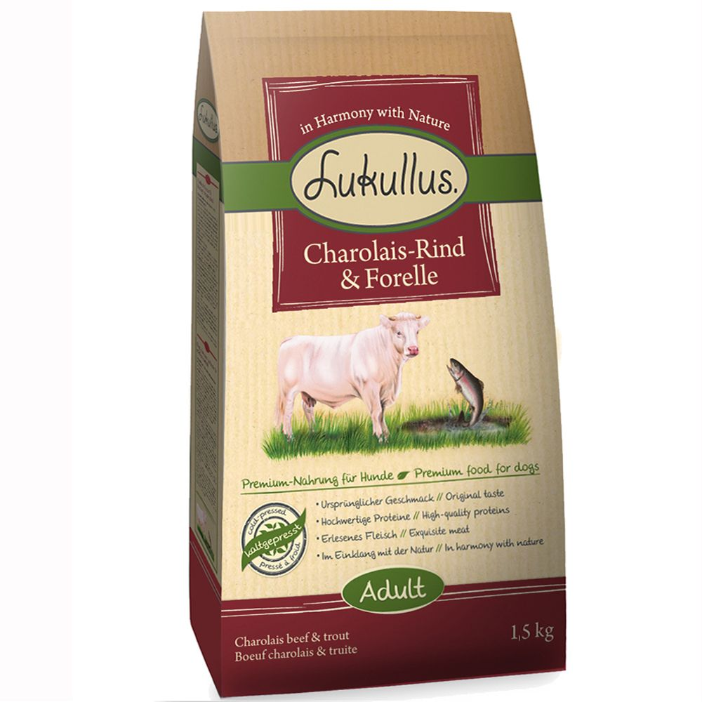 Lukullus kallpressat hundfoder Charolais nötkött & öring - 15 kg