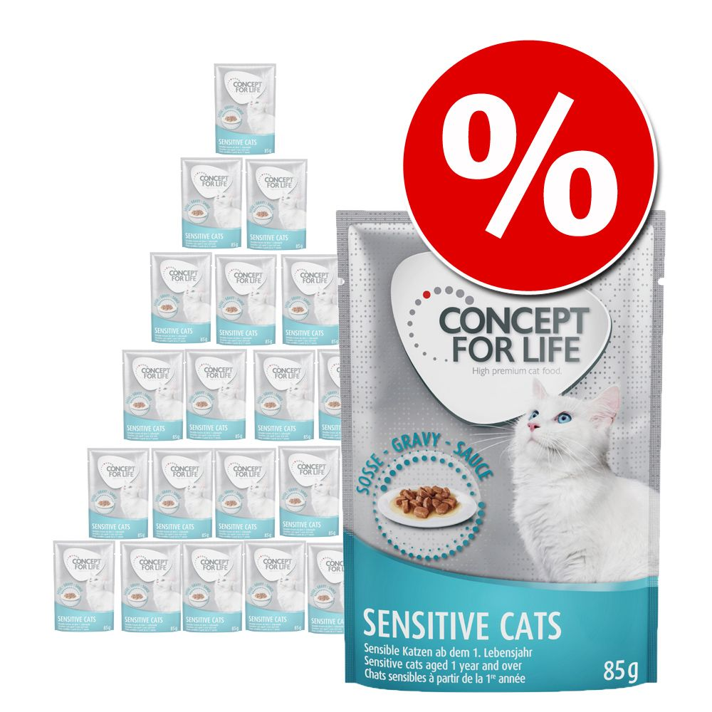 48 x 85 g Concept for Life - 10 € Rabatt! - Sensitive Cats in Gelee