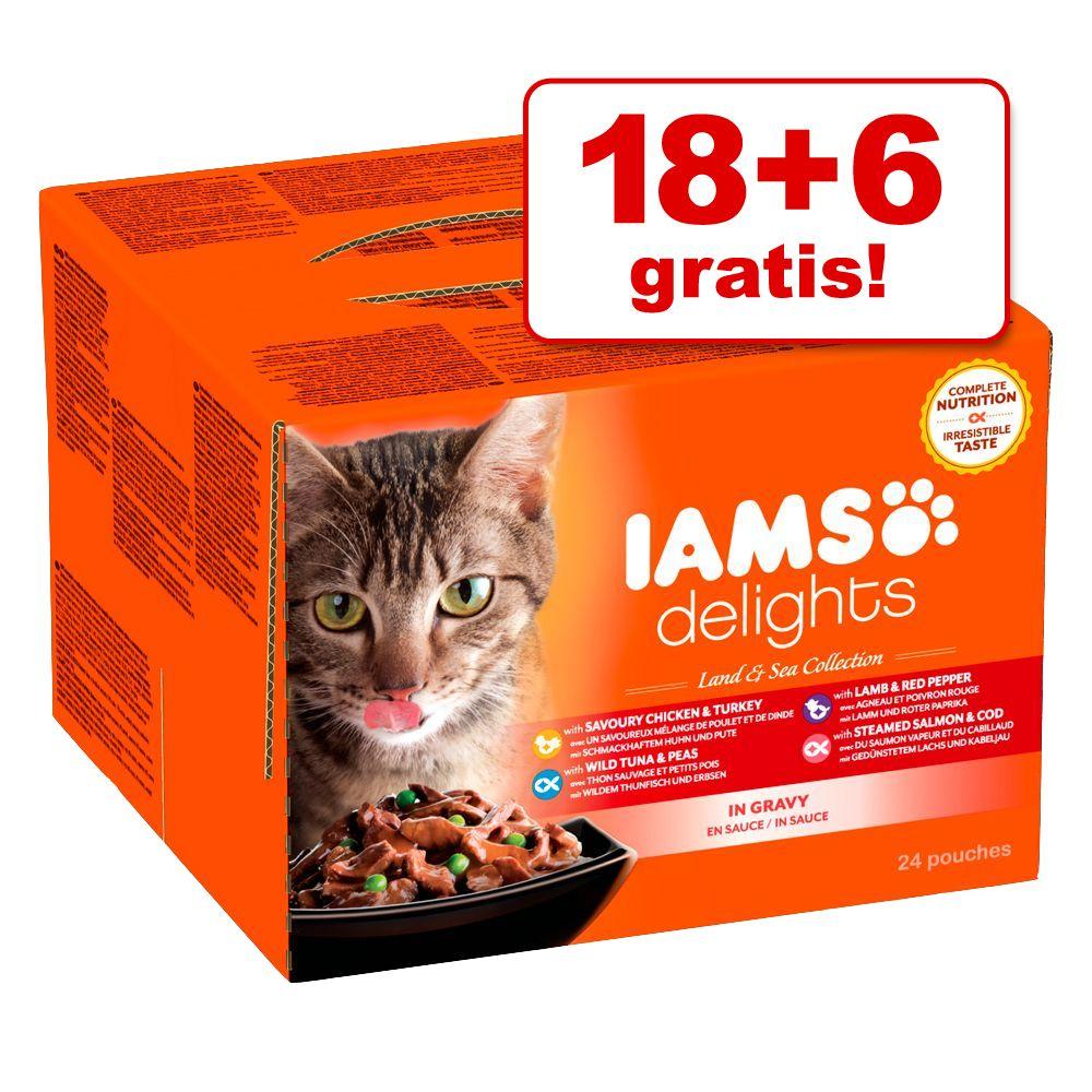 18 + 6 gratis! 24 x 85 g Iams Delights - Sea Mix in Sauce