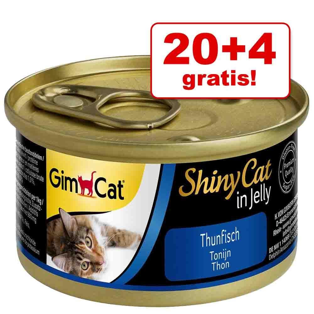 20 + 4 gratis! GimCat ShinyCat w galarecie, 24 x 70 g - Tuńczyk i kurczak