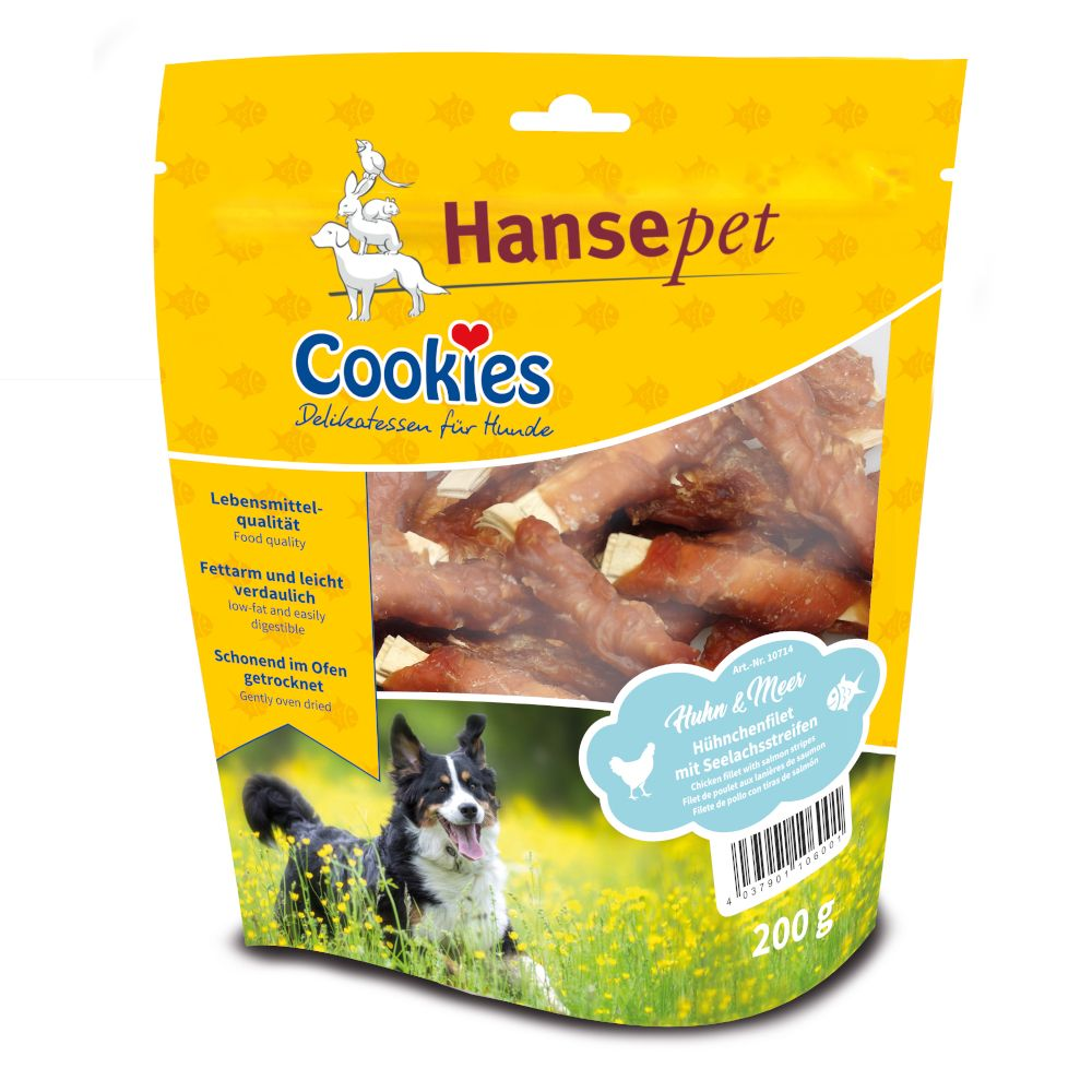 Image of Cookies Delikatess Merluzzo nero con Filetti di pollo Set %: 3 x 200 g Bastoncini