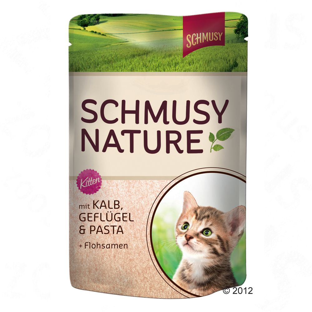 Schmusy Nature Kitten w saszetkach, 12 x 100 g - Cielęcina z drobiem, makaronem i nasionami psyllium